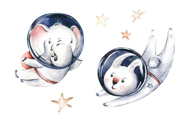 Astronauta bebê coelho lebre coelho elefante traje espacial cosmonauta estrelas universo ilustração berçário