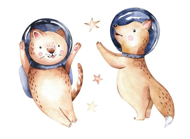 Astronauta bebê raposa gato traje espacial estrelas do cosmonauta ilustração do universo aquarela berçário
