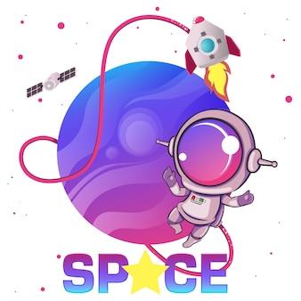 Astronauta bonitinha no espaço sideral.
