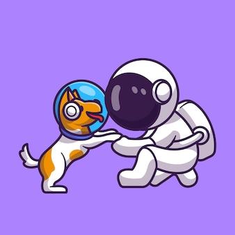 Astronauta bonito com cão astronauta cartoon ícone ilustração vetorial. conceito de ícone de animal de tecnologia isolado vetor premium. estilo flat cartoon