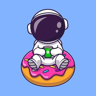 Astronauta bonito com donut e café dos desenhos animados ícone ilustração vetorial. conceito de ícone de comida de ciência isolado vetor premium. estilo flat cartoon