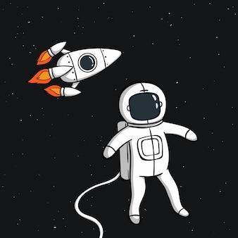Astronauta bonito com foguete no espaço