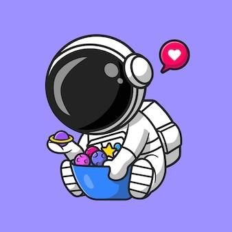 Astronauta bonito com planeta e lua na tigela dos desenhos animados ícone ilustração vetorial. conceito de ícone de ciência de tecnologia isolado vetor premium. estilo flat cartoon