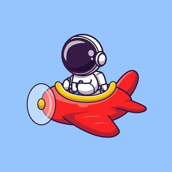 Astronauta bonito dirigindo o avião dos desenhos animados ícone ilustração vetorial. ícone de transporte científico