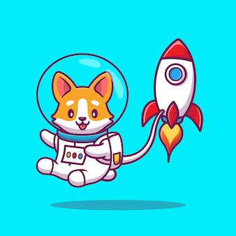 Astronauta bonito do corgi com rocket cartoon icon illustration. conceito de ícone de espaço animal isolado. estilo cartoon plana