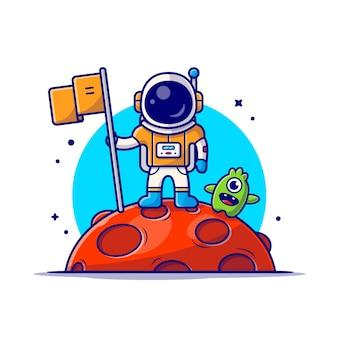 Astronauta bonito em pé segurando a bandeira na lua com ilustração de ícone de desenho animado bonito alienígena.