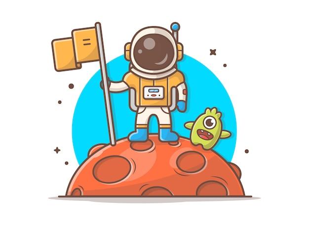 Astronauta bonito em pé segurando bandeira na lua com ilustração alienígena bonito