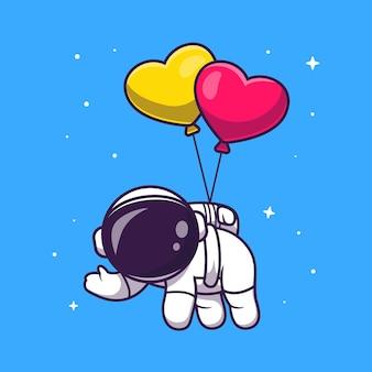 Astronauta bonito flutuando com ilustração de ícone de vetor de balão de amor. conceito de ícone de tecnologia de ciência vetor premium isolado. estilo flat cartoon