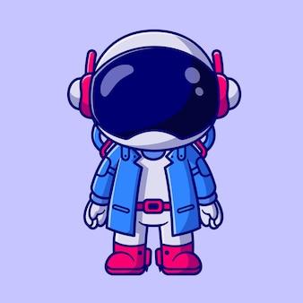 Astronauta bonito garoto vestindo terno dos desenhos animados ícone ilustração vetorial. conceito de ícone de ciência de tecnologia isolado vetor premium. estilo flat cartoon