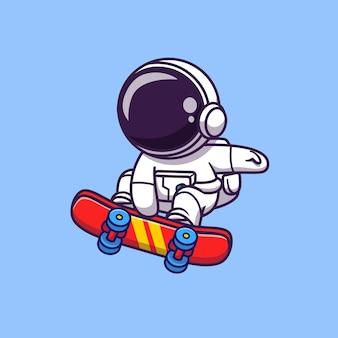 Astronauta bonito jogando skate cartoon ícone ilustração vetorial. ícone do esporte espacial