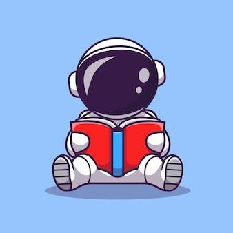 Astronauta bonito lendo livro cartoon icon ilustração vetorial. ícone de educação espacial