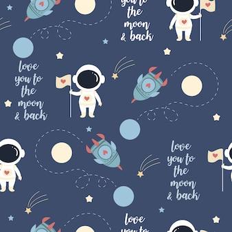 Astronauta bonito no amor no padrão de espaço