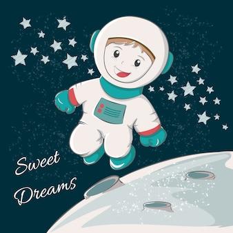 Astronauta bonito que deseja sonhos doces