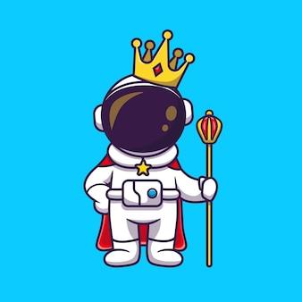 Astronauta bonito rei com ilustração do ícone dos desenhos animados da coroa. conceito de ícone de tecnologia de ciência isolado. estilo flat cartoon