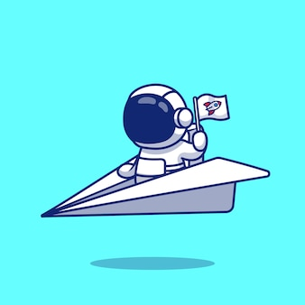 Astronauta bonito riding paper plane cartoon illustration.