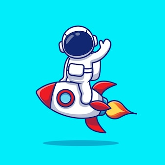 Astronauta bonito riding rocket and waving hand cartoon ilustração.