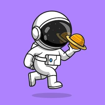 Astronauta bonito segurando a ilustração do ícone do vetor dos desenhos animados do planeta. conceito de ícone de tecnologia de ciência vetor premium isolado. estilo flat cartoon