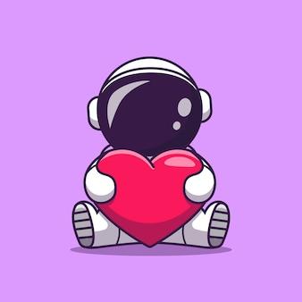Astronauta bonito segurando coração amor cartoon ícone ilustração. conceito de ícone de tecnologia de ciência isolado. estilo flat cartoon