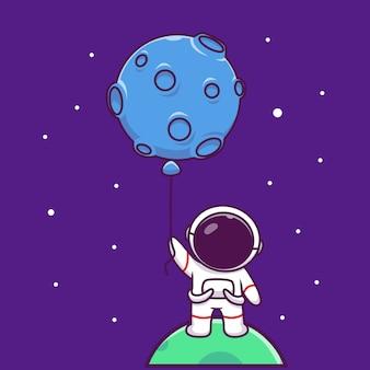 Astronauta bonito segurando lua balão cartoon icon ilustração. pessoas ciência espaço ícone conceito isolado premium. estilo cartoon plana