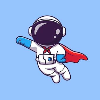 Astronauta bonito super herói voando ilustração vetorial ícone dos desenhos animados. ícone de tecnologia científica