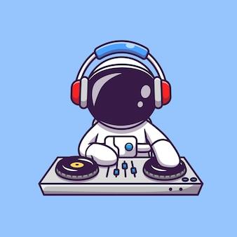 Astronauta bonito tocando música eletrônica dj com ilustração do ícone dos desenhos animados de fone de ouvido. conceito de ícone de tecnologia científica