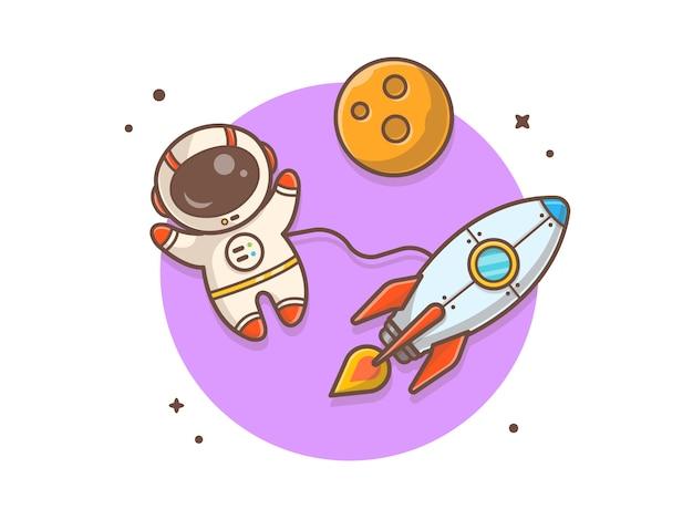 Astronauta bonito voando com ilustração de foguete e planeta