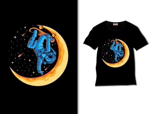 Astronauta brincando de skate na ilustração da lua com o design de uma camiseta