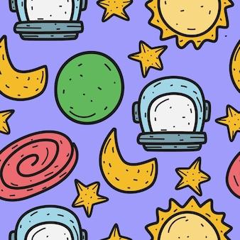 Astronauta cartoon desenho padrão doodle ilustração