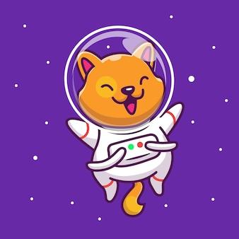 Astronauta cat icon illustration. personagem de desenho animado do gato no espaço mascote. conceito de ícone animal isolado