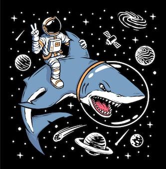 Astronauta cavalgando ilustração de tubarão Vetor Premium