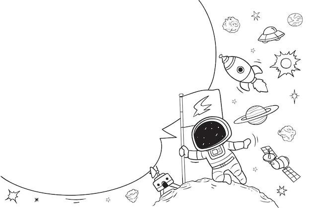Astronauta com balão de fala em branco, ilustração de doodle