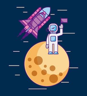 Astronauta com bandeira em outro foguete da missão espacial do planeta