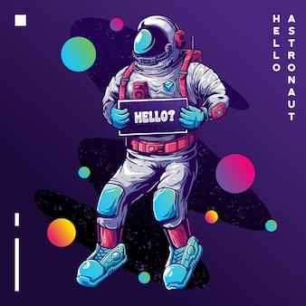 Astronauta com cartão olá no espaço. olá cartão de felicitações de astronauta