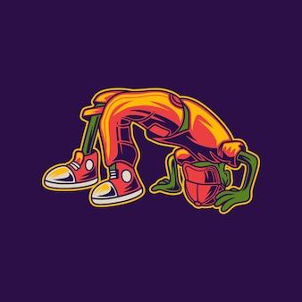Astronauta com design de camiseta em uma posição fantástica ilustração de break dance
