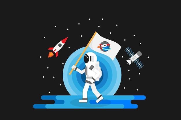 Astronauta com design.vector de planeta e ilustração