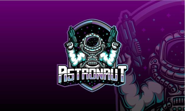 Astronauta com logotipo de arma laser