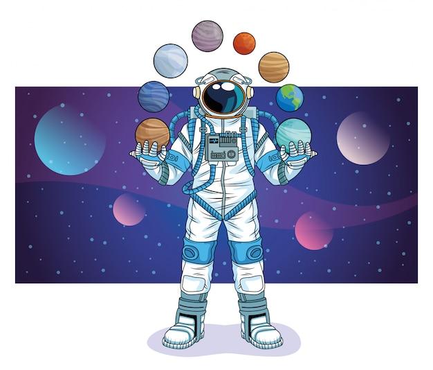Astronauta com planetas na ilustração do personagem de espaço