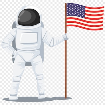 Astronauta com um personagem de desenho animado de bandeira americana isolado transparente
