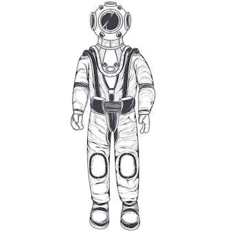Astronauta, cosmonauta em terno espacial e capacete