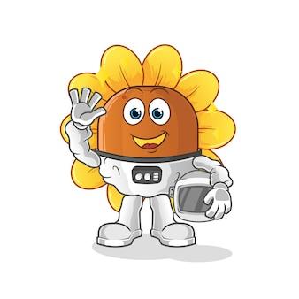 Astronauta da flor do sol acenando