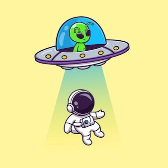 Astronauta da invasão de ovnis na nave espacial alienígena fofa