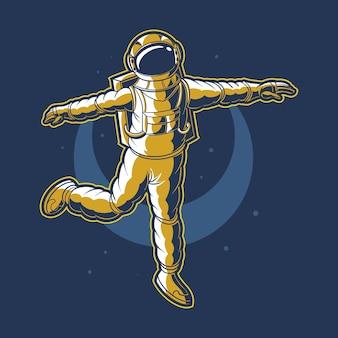 Astronauta dançando no espaço vetorial com fundo de lua