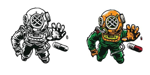 Astronauta de capacete de mergulhador do mar alcançar cápsula arte cartoon arte ilustração para design de vestuário