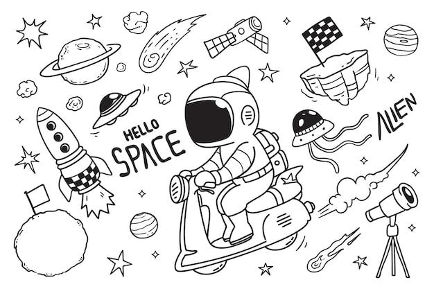 Astronauta de desenho animado e doodle de vespa
