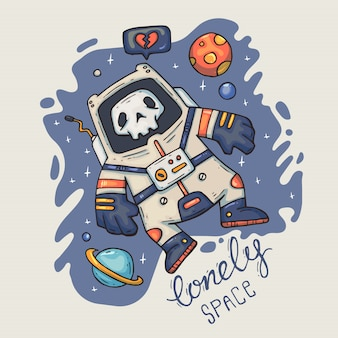 Astronauta de desenhos animados no espaço.