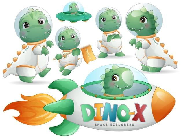 Astronauta de dinossauro fofo posa em conjunto de ilustração em estilo aquarela