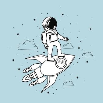 Astronauta de foguete e estrelas