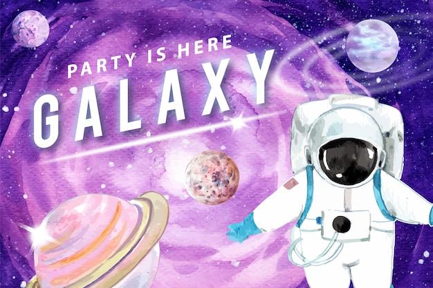Astronauta de galáxia, ilustração em aquarela de planetas cosmos.