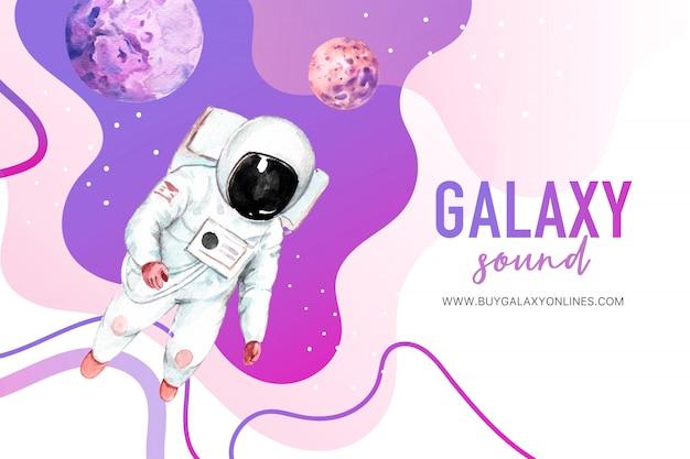 Astronauta de galáxia, ilustração em aquarela de planetas.