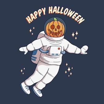 Astronauta de halloween com desenho de vetor de cabeça de abóbora melhor para cartaz de banner e convite